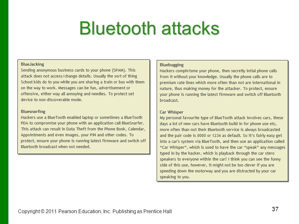 Bluetooth attacks Copyright © 2011 Pearson Education, Inc. Publishing as Prentice Hall