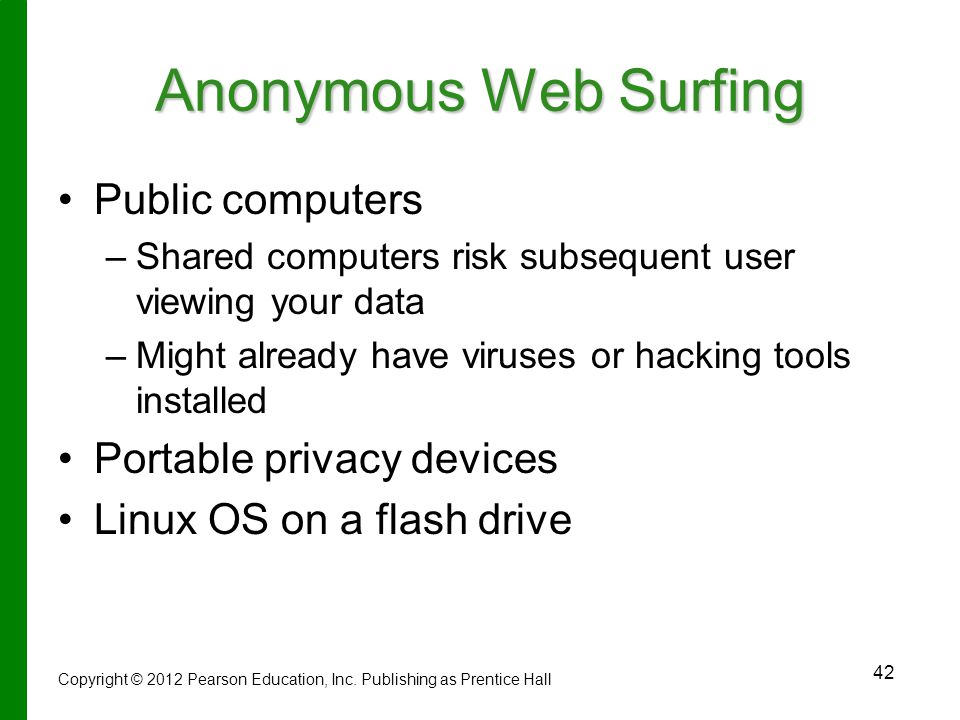 Anonymous Web Surfing Public computers Portable privacy devices