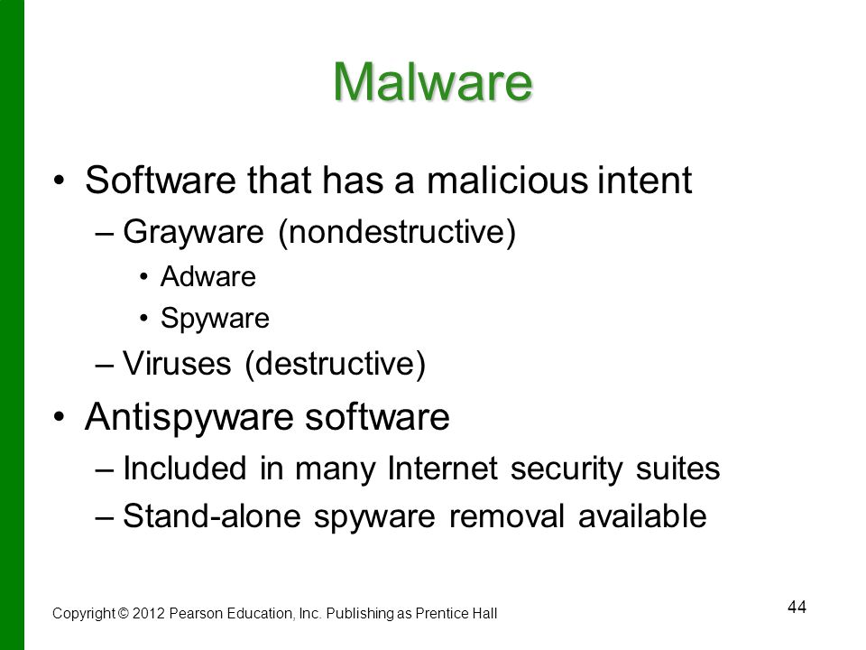 Malware Software that has a malicious intent Antispyware software