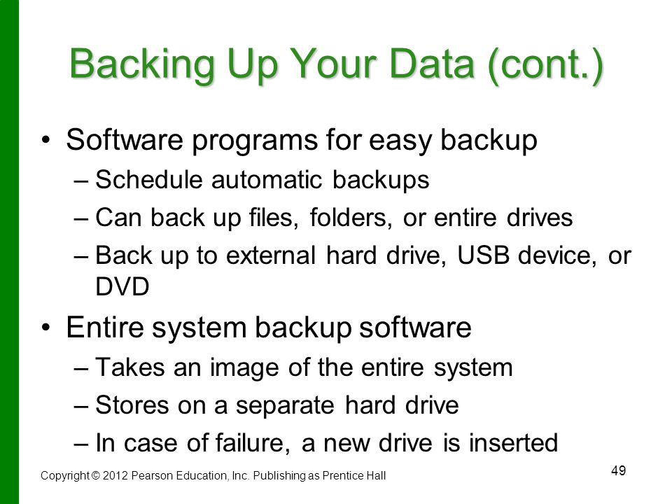 Backing Up Your Data (cont.)