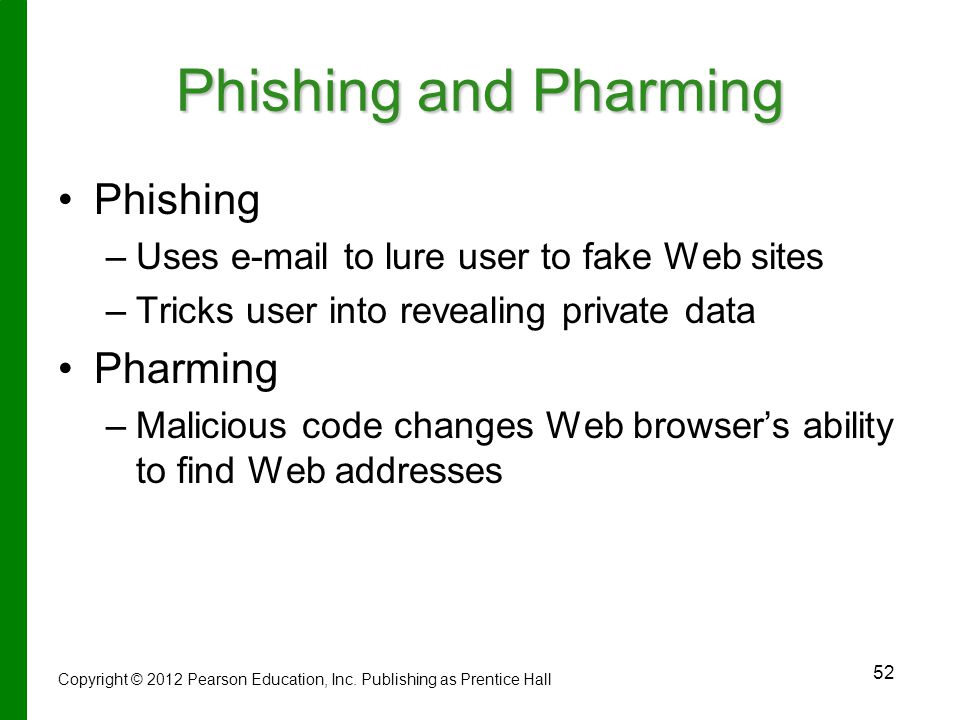 Phishing and Pharming Phishing Pharming