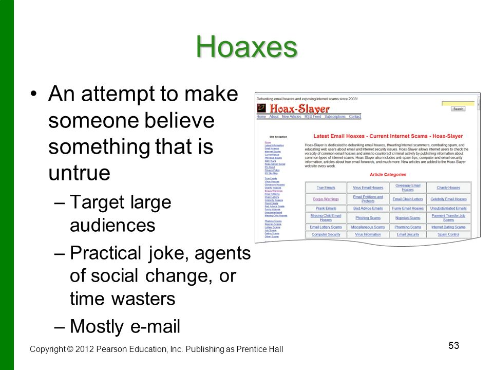 Hoaxes An attempt to make someone believe something that is untrue
