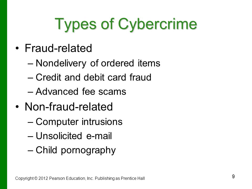 Types of Cybercrime Fraud-related Non-fraud-related