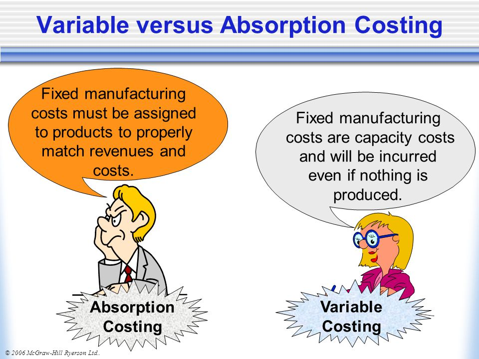 Variable versus Absorption Costing