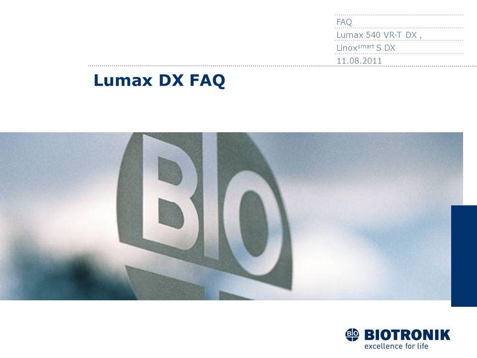 FAQ Lumax 540 VR-T DX , Linoxsmart S DX 11.08.2011