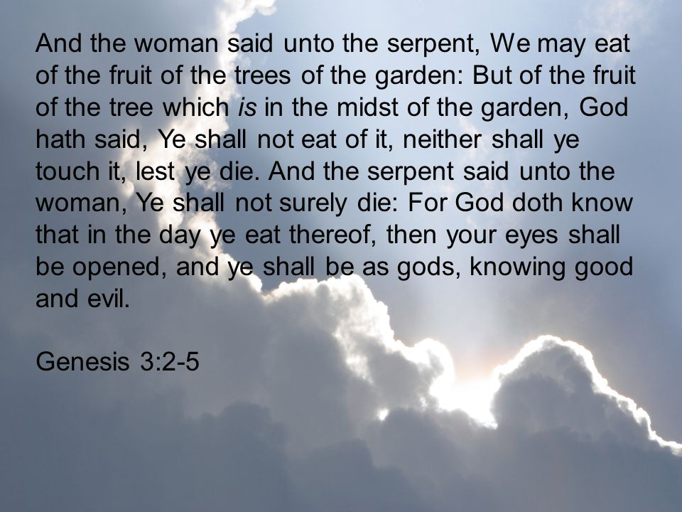 And the woman said unto the serpent, We may eat of the fruit of the trees of the garden: But of the fruit of the tree which is in the midst of the garden, God hath said, Ye shall not eat of it, neither shall ye touch it, lest ye die. And the serpent said unto the woman, Ye shall not surely die: For God doth know that in the day ye eat thereof, then your eyes shall be opened, and ye shall be as gods, knowing good and evil.