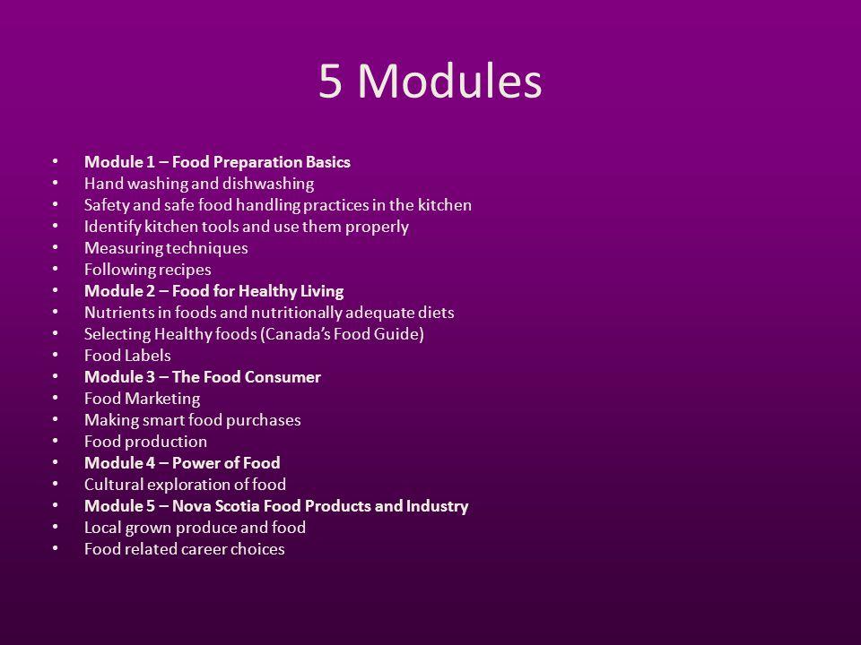 5 Modules Module 1 – Food Preparation Basics