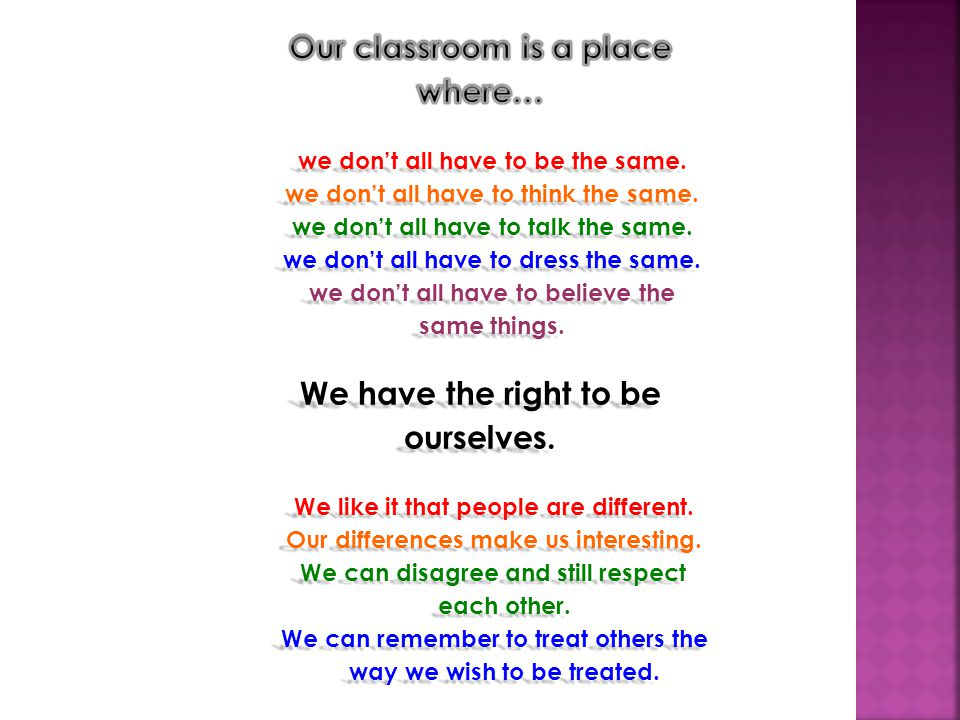 Our classroom is a place where…