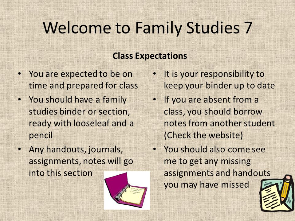 Welcome to Family Studies 7