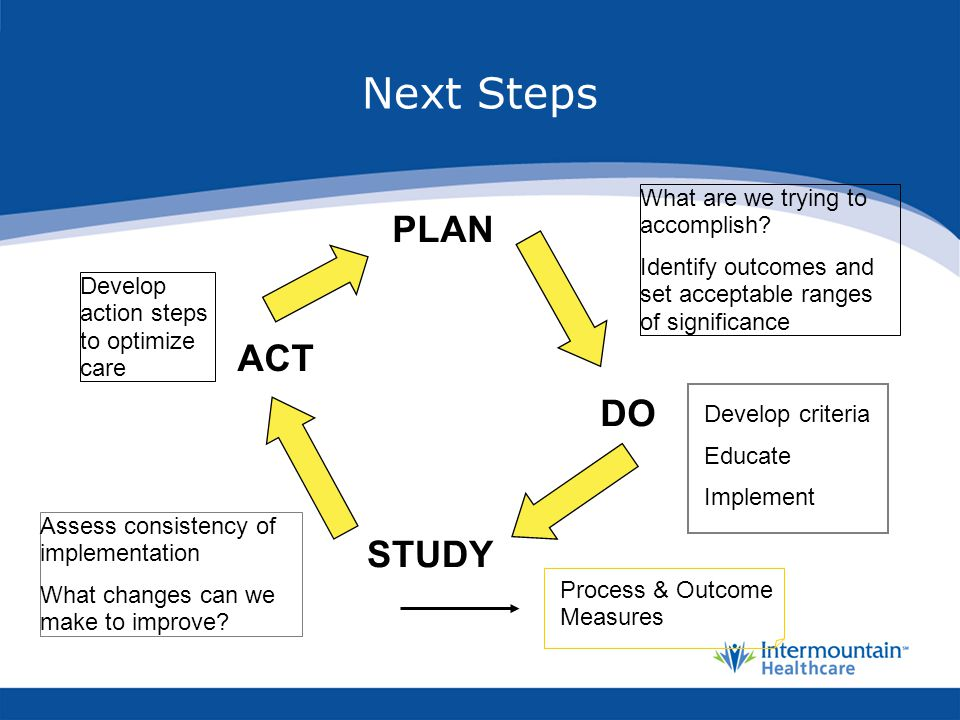 Next Steps PLAN ACT DO STUDY What are we trying to accomplish