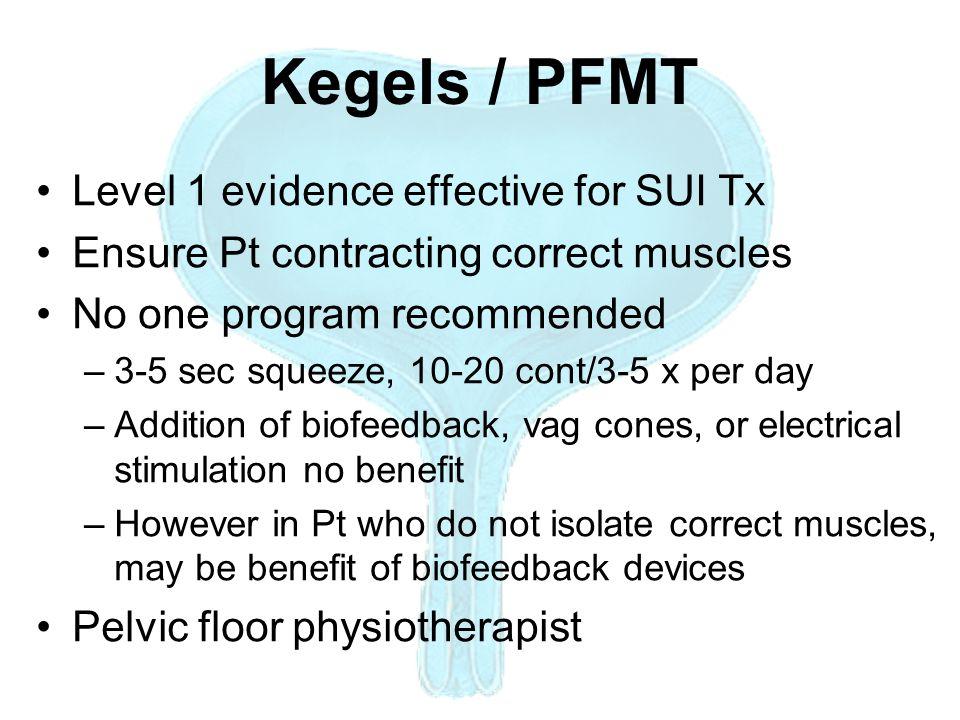 Kegels / PFMT Level 1 evidence effective for SUI Tx