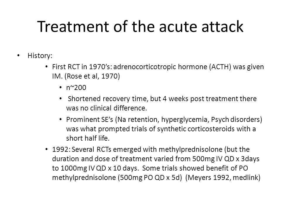 Treatment of the acute attack