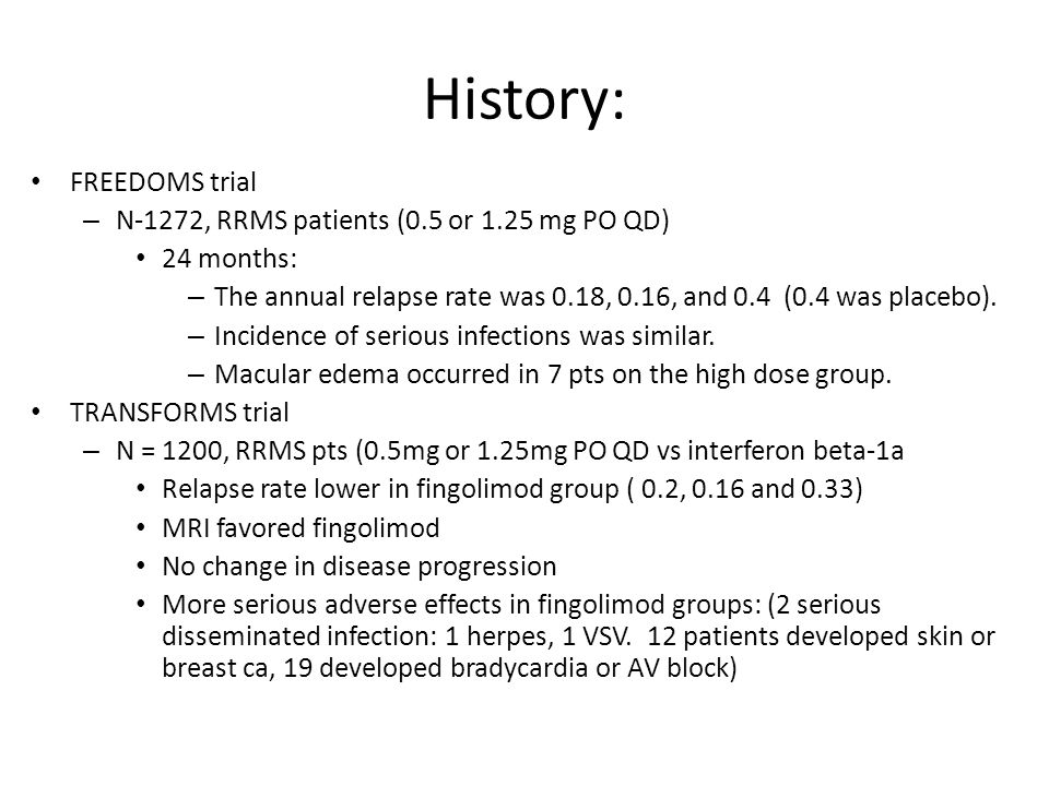 History: FREEDOMS trial N-1272, RRMS patients (0.5 or 1.25 mg PO QD)