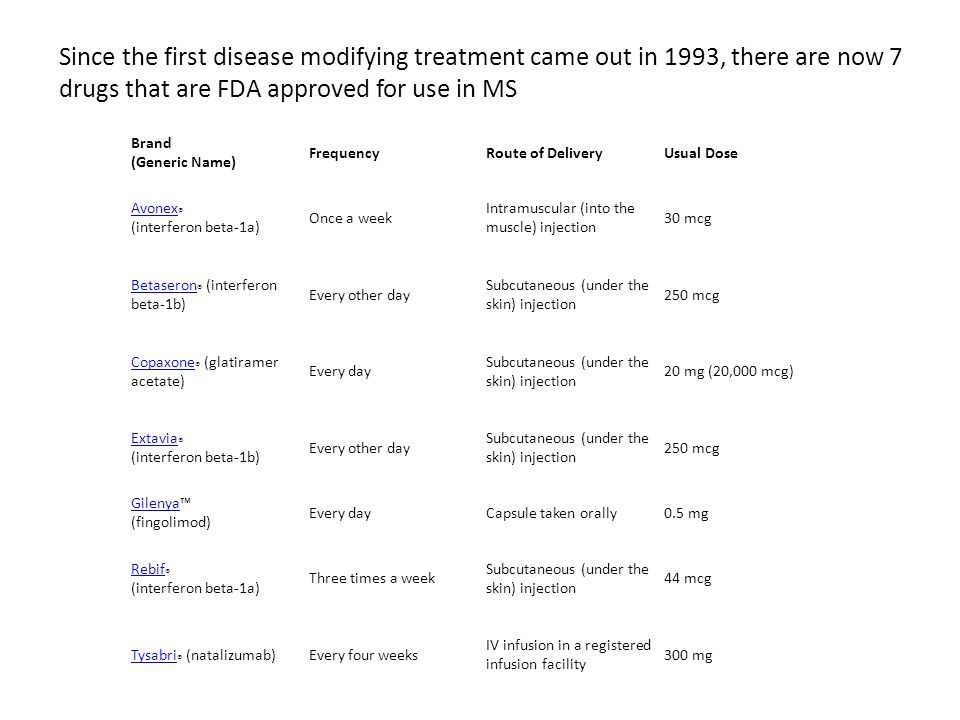 Since the first disease modifying treatment came out in 1993, there are now 7 drugs that are FDA approved for use in MS