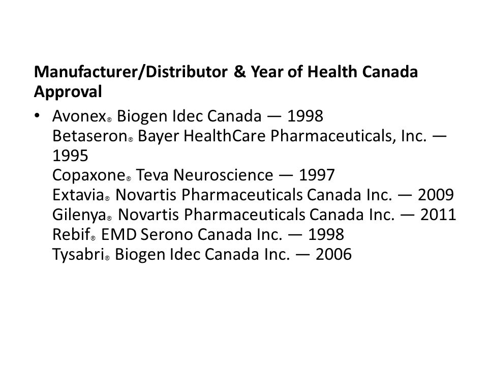 Manufacturer/Distributor & Year of Health Canada Approval