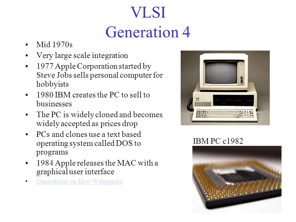 VLSI Generation 4 Mid 1970s Very large scale integration
