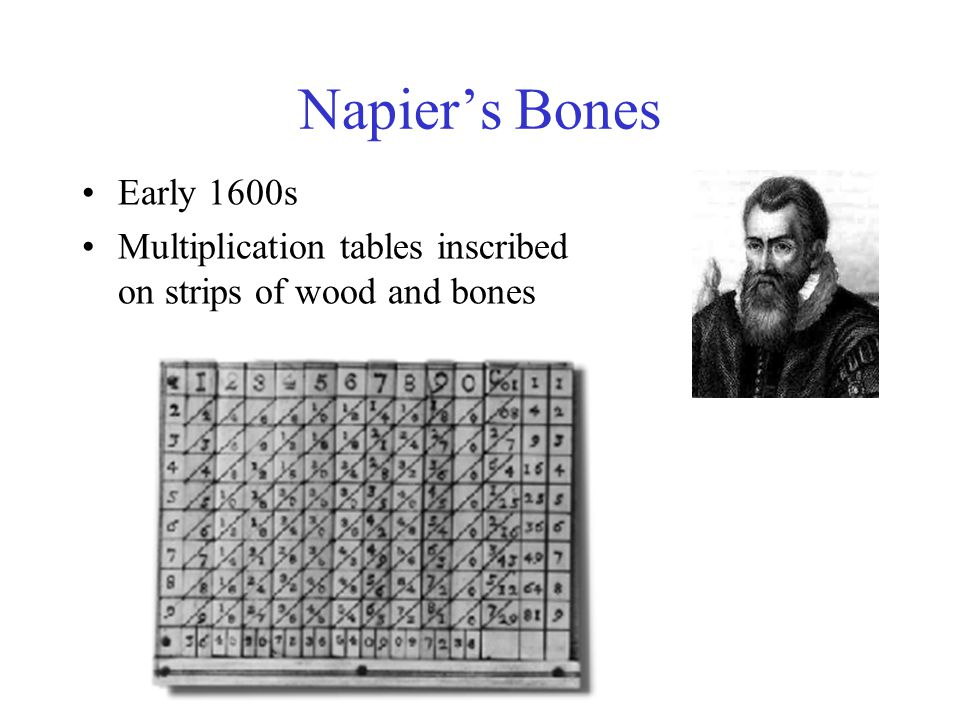 Napier's Bones Early 1600s Multiplication tables inscribed on strips of wood and bones