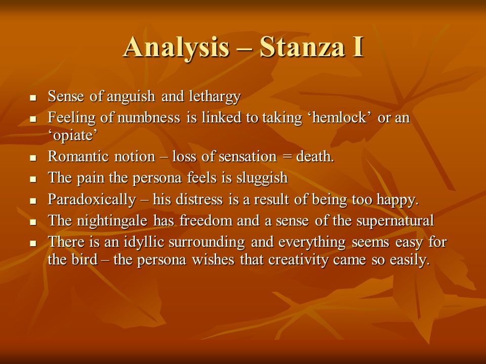 Analysis – Stanza I Sense of anguish and lethargy