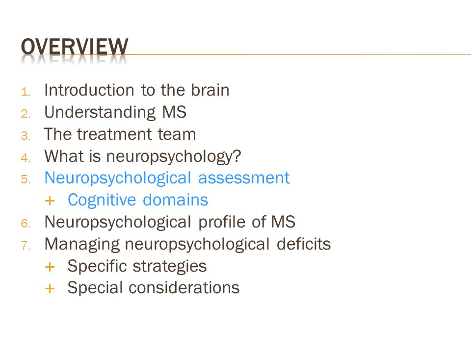 Overview Introduction to the brain Understanding MS The treatment team