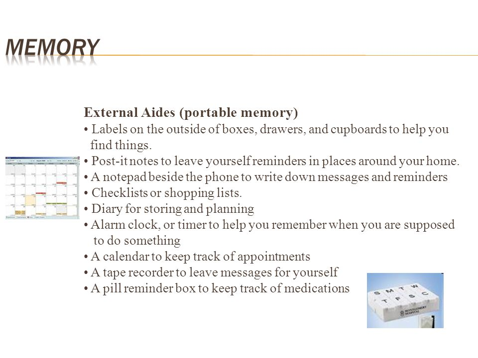 Memory External Aides (portable memory)