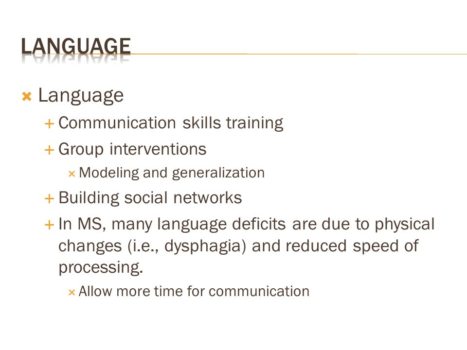 Language Language Communication skills training Group interventions