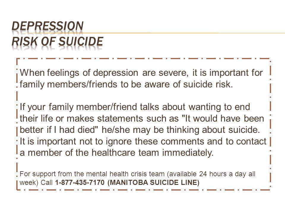 Depression Risk of Suicide