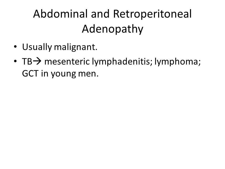 Abdominal and Retroperitoneal Adenopathy