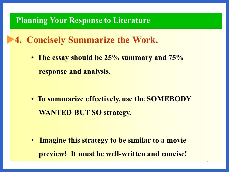4. Concisely Summarize the Work.