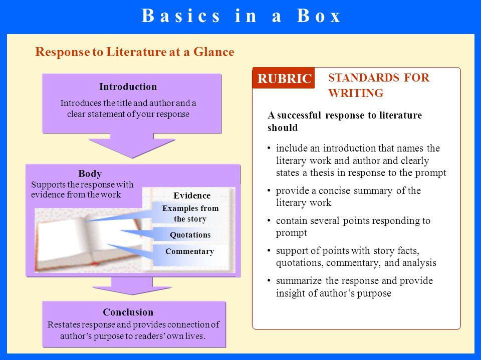 B a s i c s i n a B o x Response to Literature at a Glance RUBRIC
