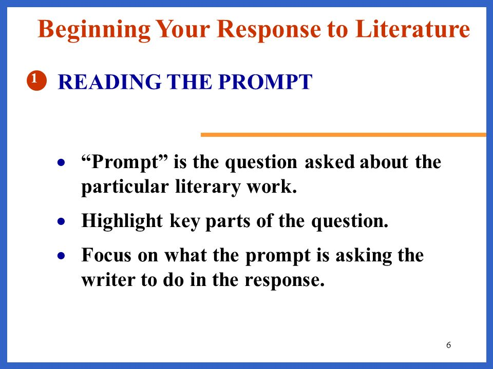Beginning Your Response to Literature
