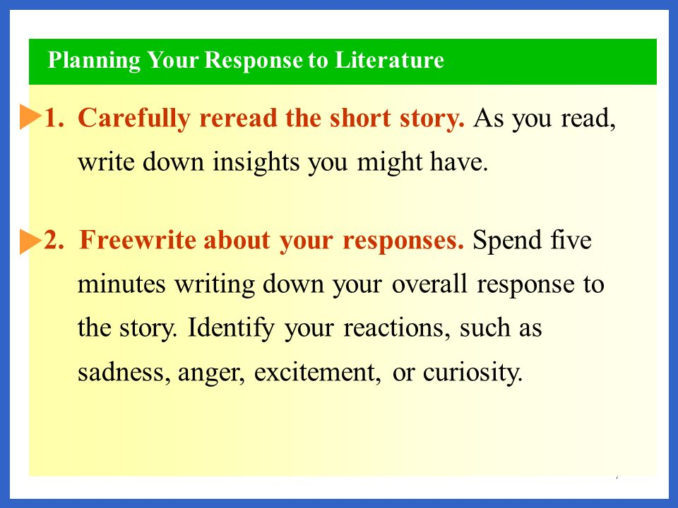Planning Your Response to Literature
