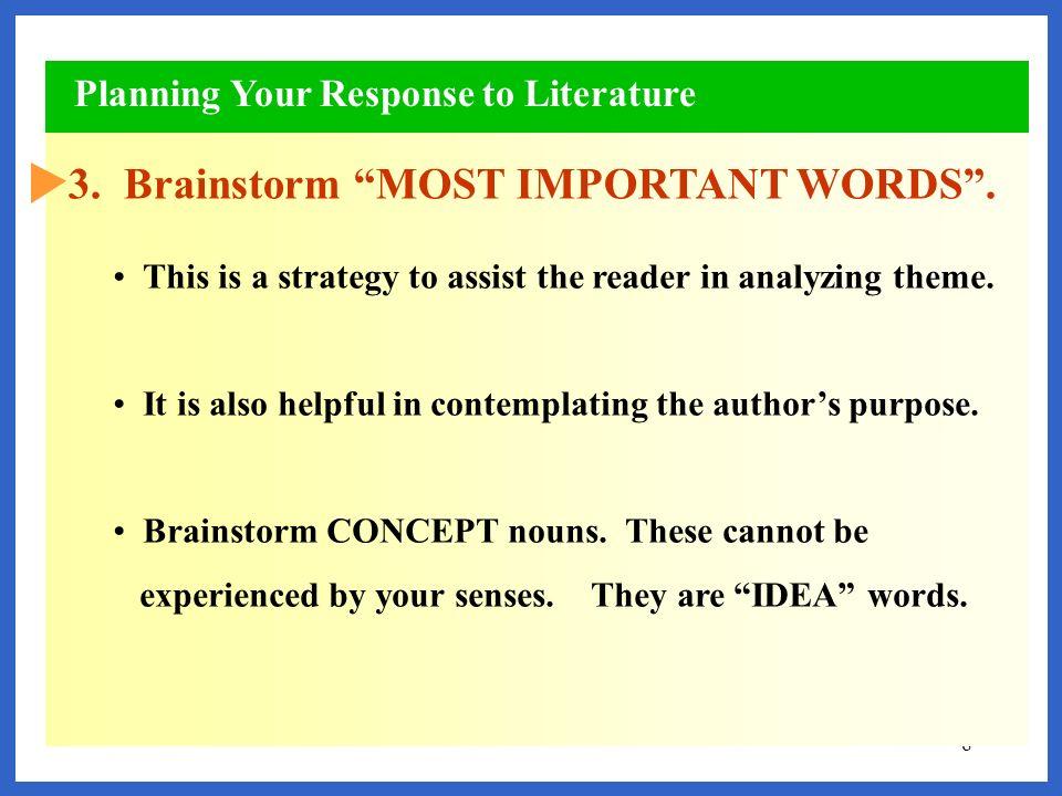 3. Brainstorm MOST IMPORTANT WORDS .