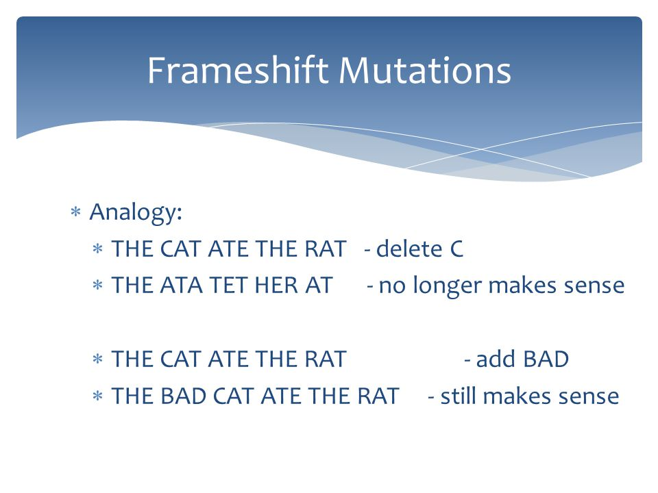 Frameshift Mutations Analogy: THE CAT ATE THE RAT - delete C