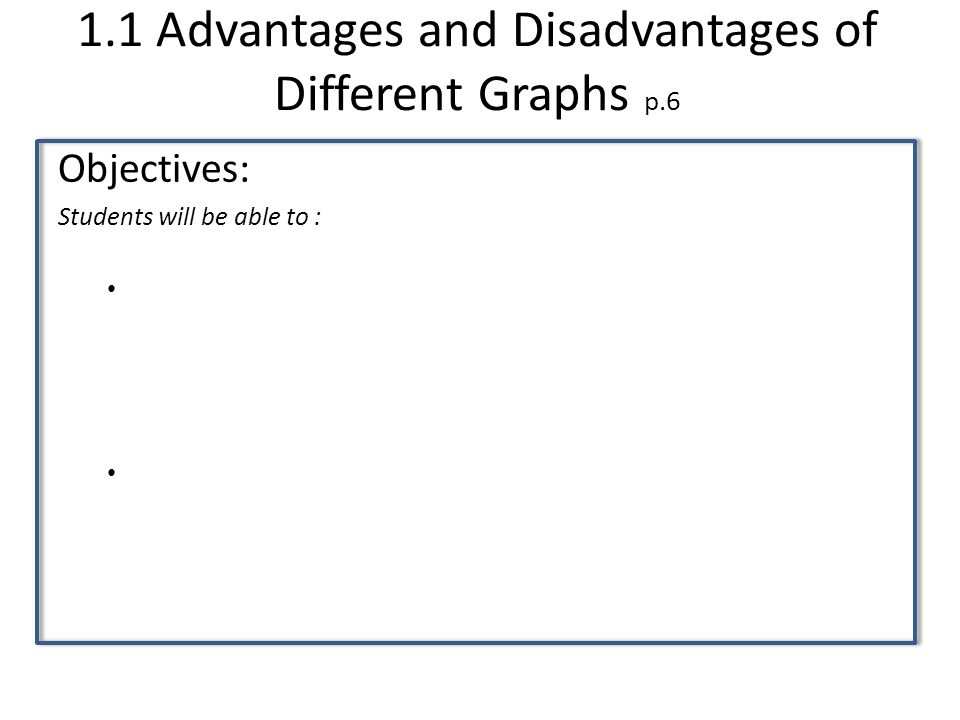 1.1 Advantages and Disadvantages of Different Graphs p.6