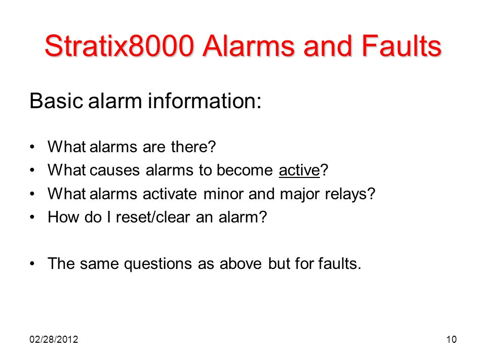 Stratix8000 Alarms and Faults