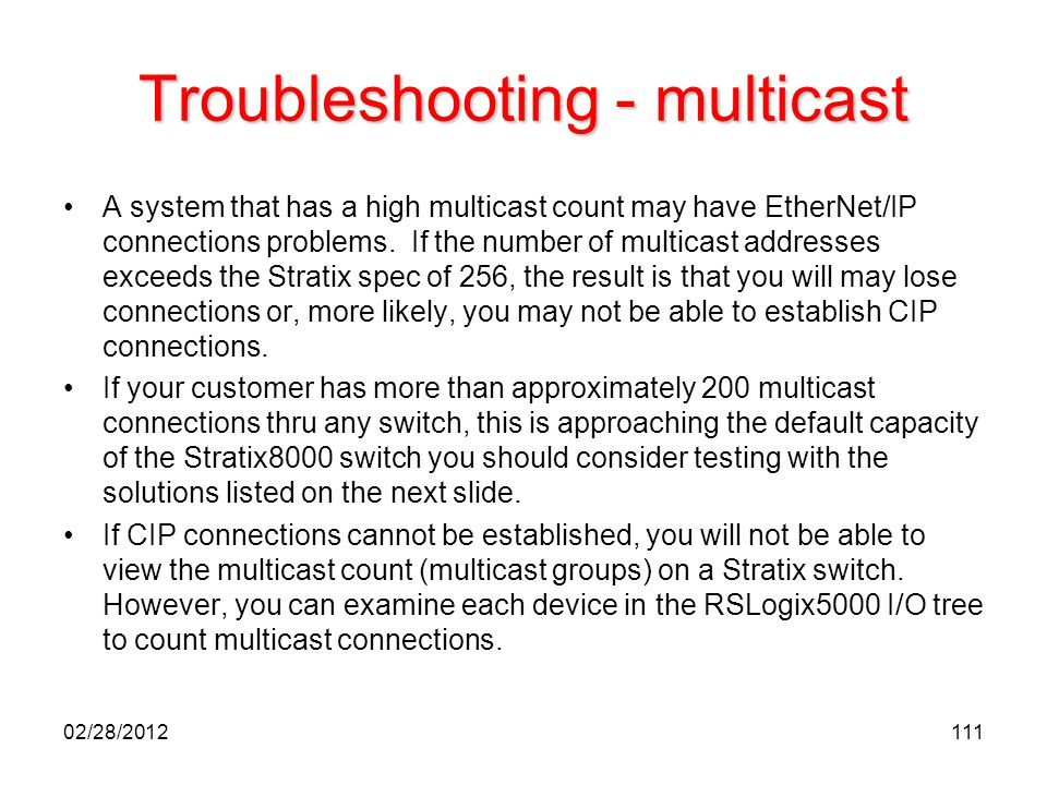 Troubleshooting - multicast