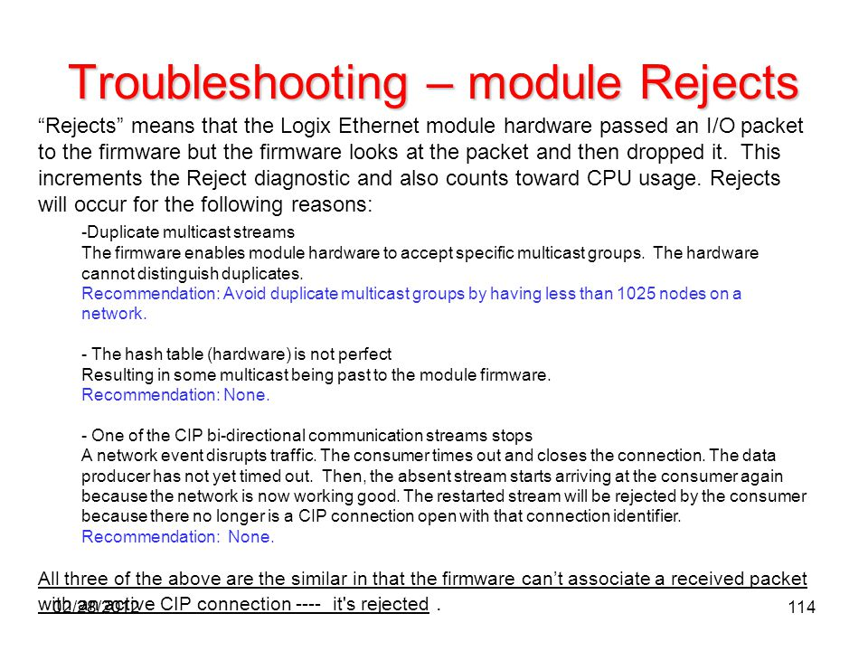 Troubleshooting – module Rejects