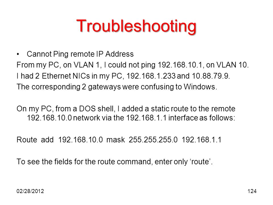 Troubleshooting Cannot Ping remote IP Address