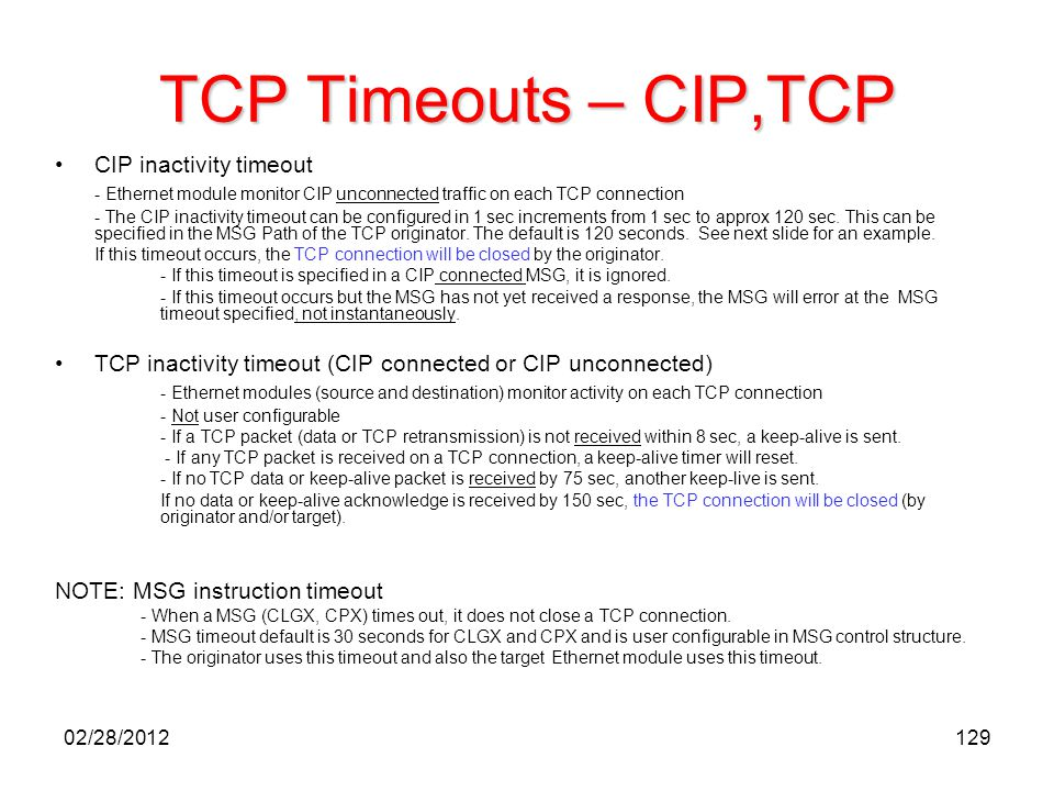 TCP Timeouts – CIP,TCP CIP inactivity timeout