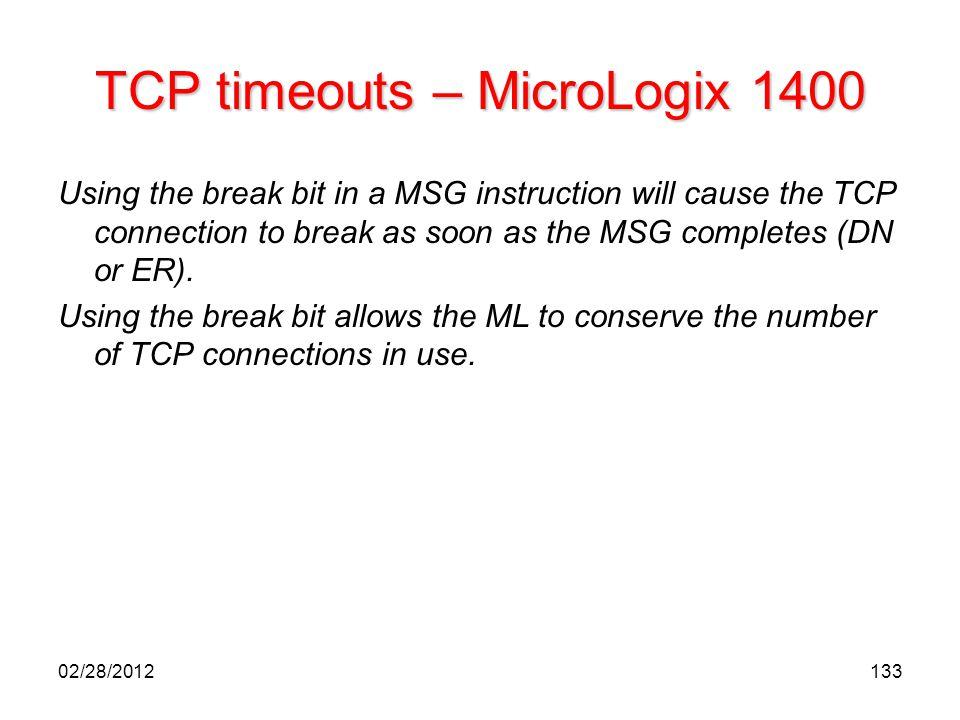 TCP timeouts – MicroLogix 1400