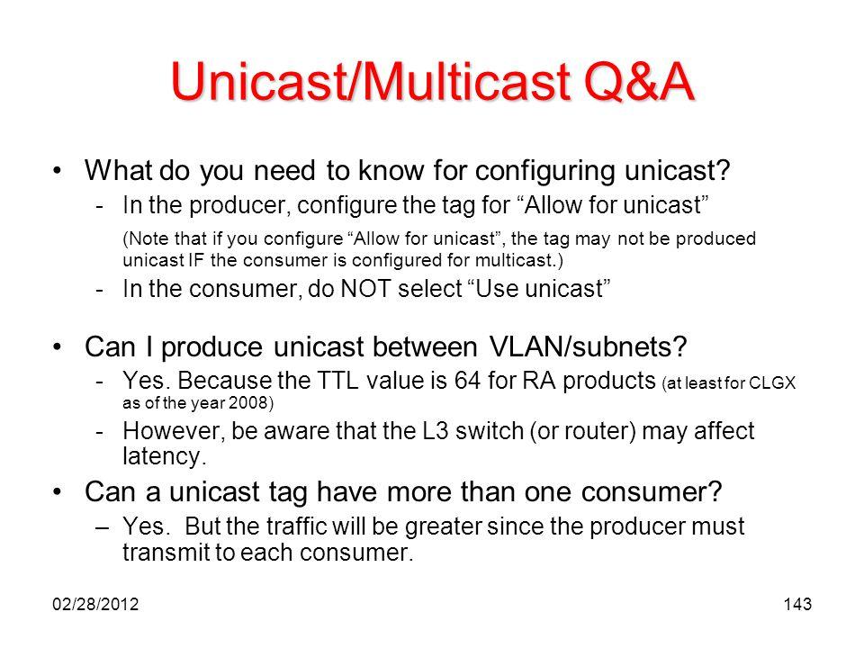 Unicast/Multicast Q&A