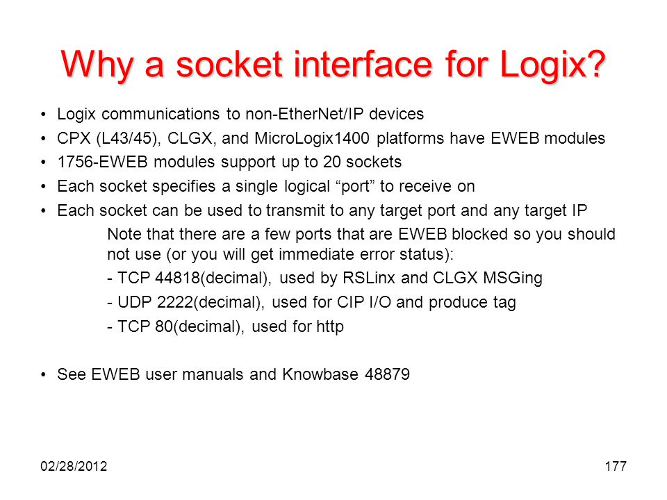 Why a socket interface for Logix