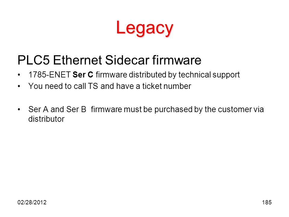 Legacy PLC5 Ethernet Sidecar firmware