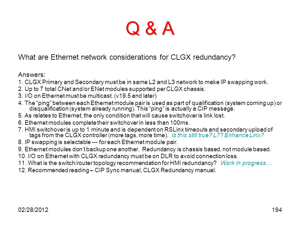 Q & A What are Ethernet network considerations for CLGX redundancy