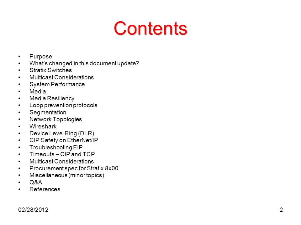 Contents Purpose What's changed in this document update