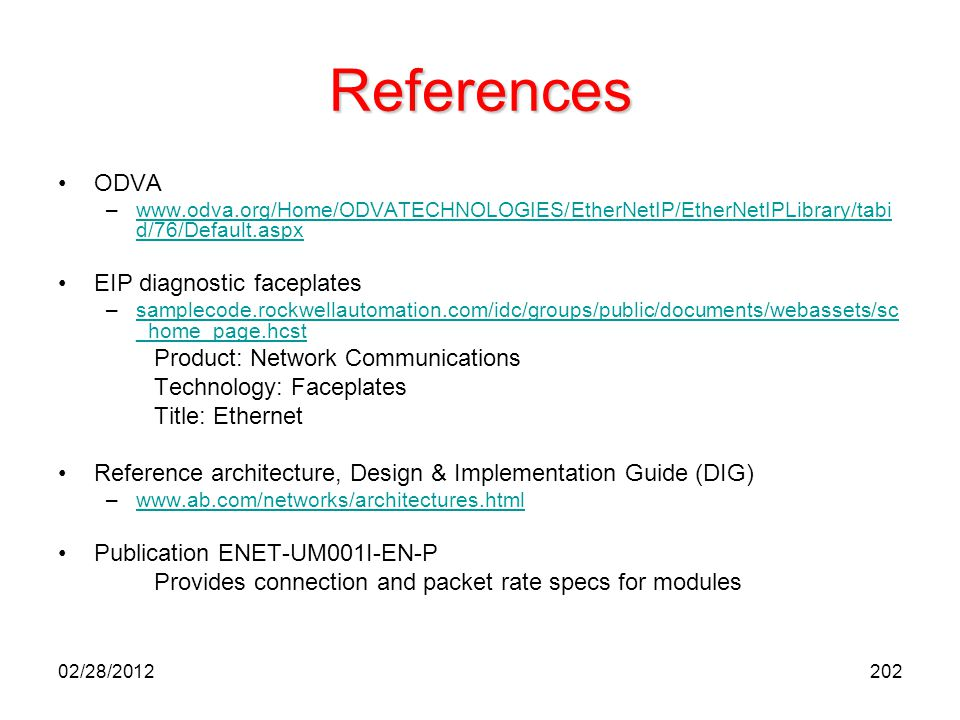 References ODVA EIP diagnostic faceplates