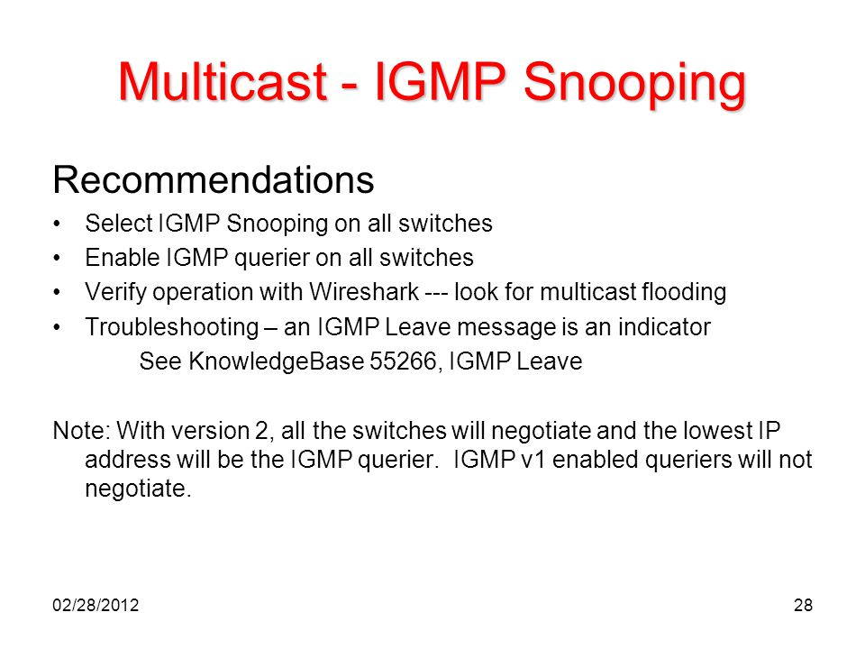 Multicast - IGMP Snooping