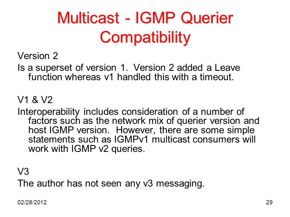 Multicast - IGMP Querier Compatibility