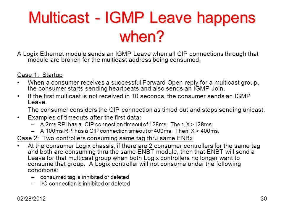 Multicast - IGMP Leave happens when