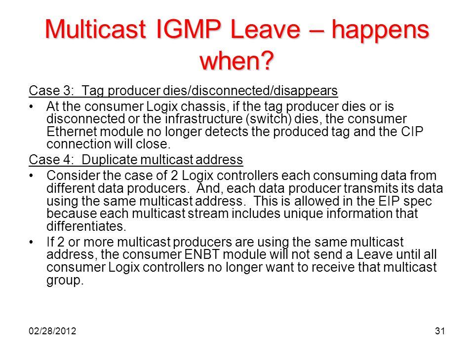 Multicast IGMP Leave – happens when